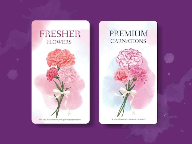 カーネーションの花のコンセプト、水彩スタイルのinstagramテンプレート