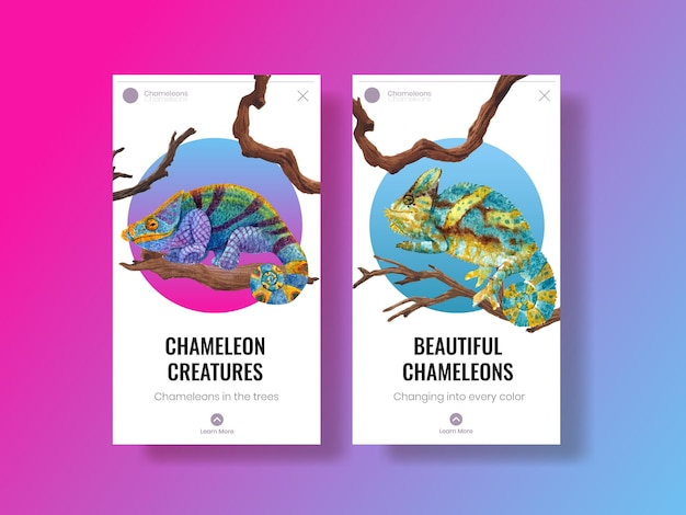 Instagram template with chameleon lizard in watercolor style
