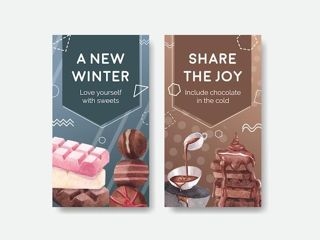 온라인 마케팅 및 소셜 미디어 수채화 벡터 일러스트 레이 션을위한 초콜릿 겨울 컨셉 디자인 instagram 템플릿