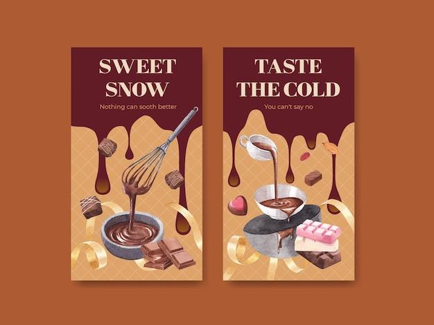 Шаблон instagram с шоколадным зимним концептуальным дизайном для онлайн-маркетинга и акварельной векторной иллюстрации в социальных сетях