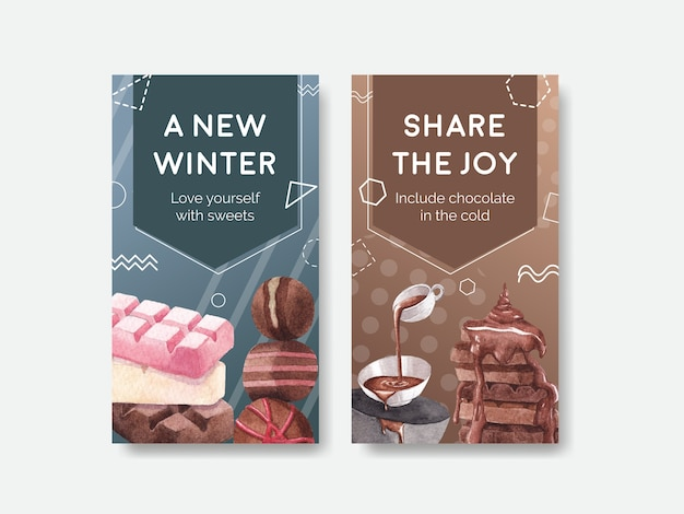 Modello di instagram con concept design invernale al cioccolato per marketing online e illustrazione vettoriale di social media acquerello