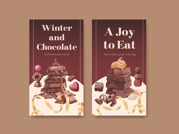 Instagram template with chocolate winter concept design for online marketing and social media watercolor vector illustration