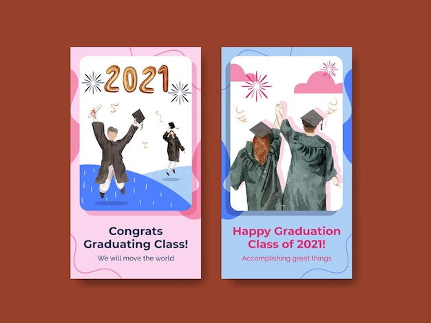 Instagram template with class of 2021 in watercolor style