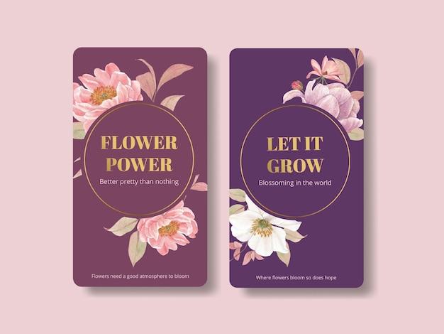 コテージコアの花のコンセプト、水彩スタイルのinstagramテンプレート