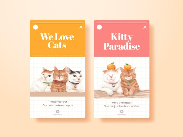 Instagram template with cute cat in watercolor style