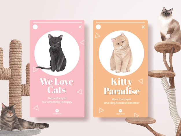 Instagram template with cute cat
