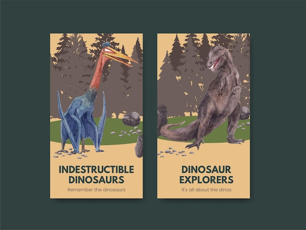 恐竜のコンセプト、水彩スタイルのinstagramテンプレート