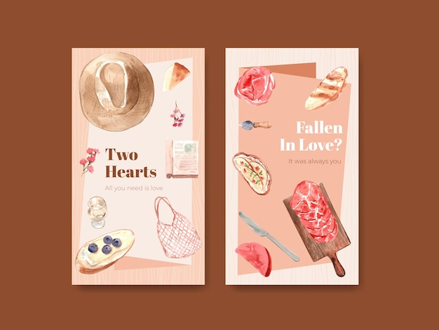 Instagram template with european picnic concept design for social media watercolor illustration.