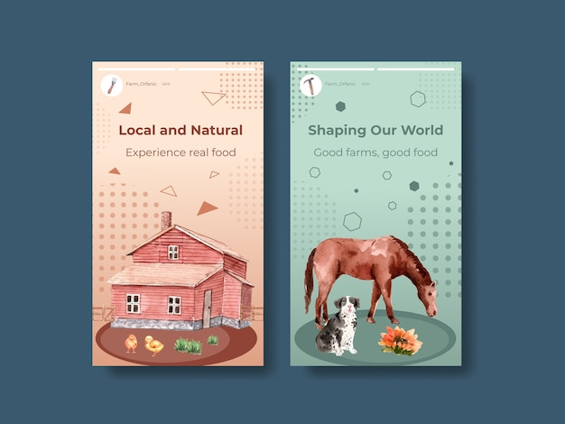 Instagram template with farm organic concept design    watercolor    illustration.