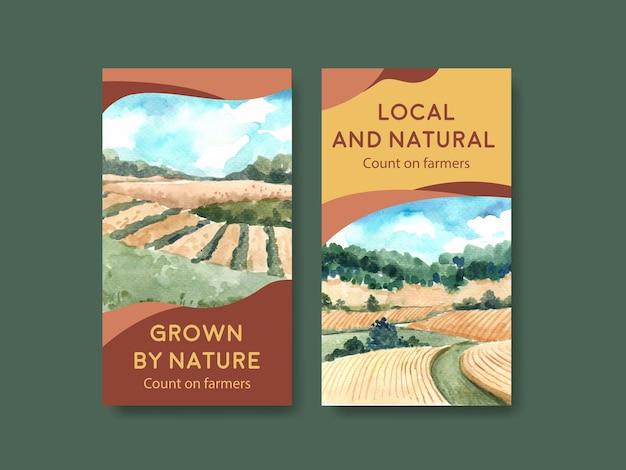 Modello di instagram con l'illustrazione dell'acquerello di progettazione di massima organica dell'azienda agricola.