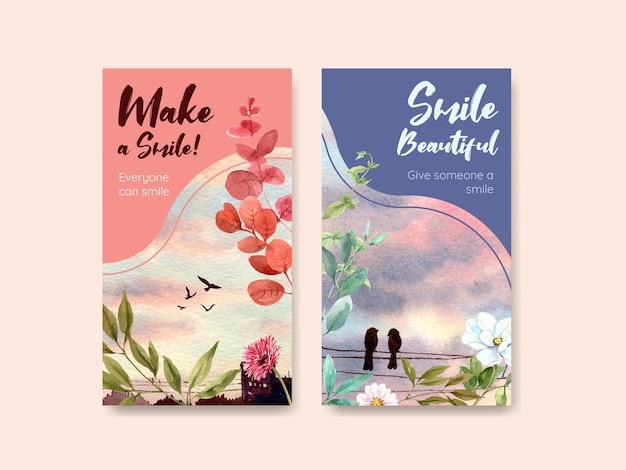 Шаблон instagram с дизайном букета цветов для концепции всемирного дня улыбки для социальных сетей и сообщества акварель вектор illustraion.