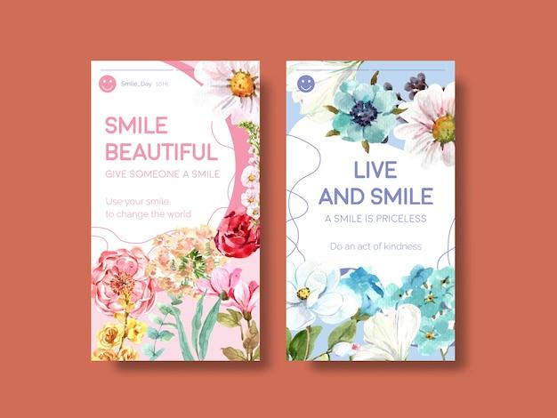 소셜 미디어 및 커뮤니티 수채화 벡터 illustraion에 세계 미소의 날 개념에 대한 꽃 꽃다발 디자인 instagram 템플릿.