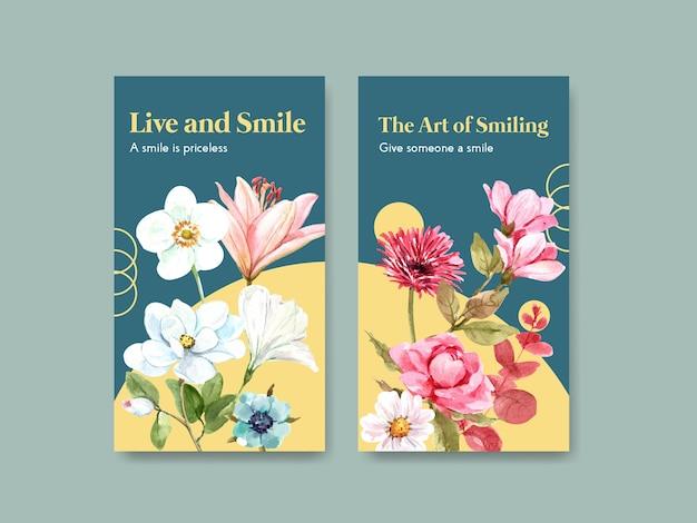 Modello di instagram con design di bouquet di fiori per il concetto di giornata mondiale del sorriso ai social media e illustrazione vettoriale dell'acquerello della comunità.
