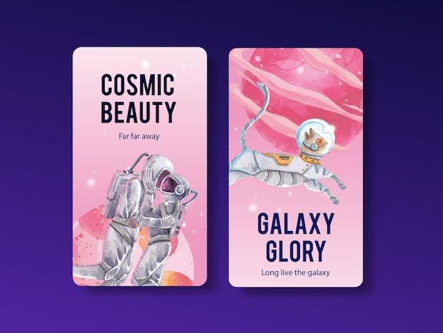 Instagram template with galaxy concept design watercolor illustration