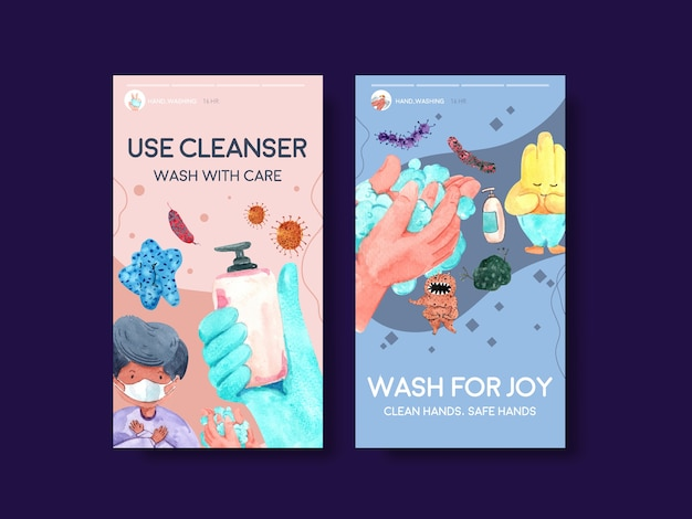Instagram template with global handwashing day concept design
