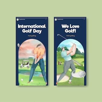 Шаблон instagram с любителем гольфа в акварельном стиле
