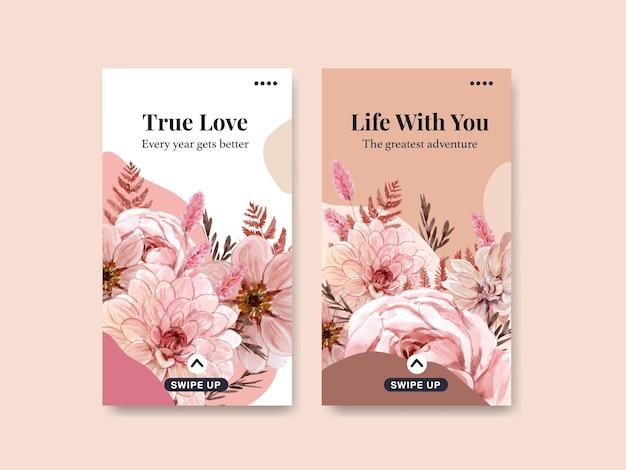 Instagram template with happiness wedding concept in watercolor style