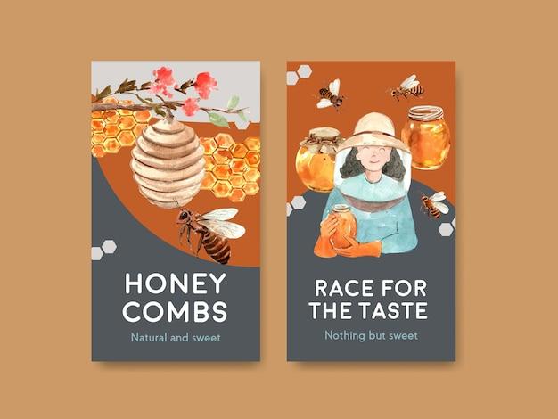 Socailメディア水彩ベクトルイラストの蜂蜜のコンセプトデザインとinstagramのテンプレート