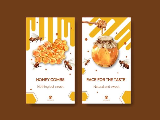 ソーシャルメディア水彩画の蜂蜜とinstagramのテンプレート