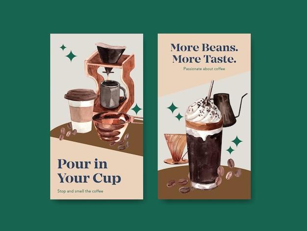 Modello di instagram con concept design della giornata internazionale del caffè