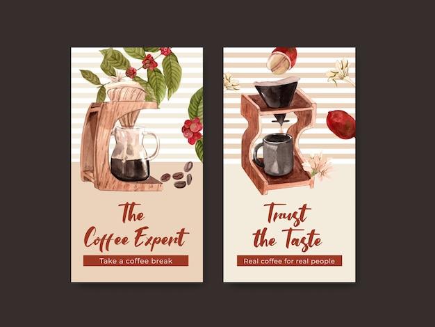 Шаблон instagram с концептуальным дизайном международного дня кофе