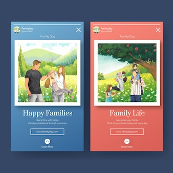 Instagram template with international day of families concept design watercolor illustration