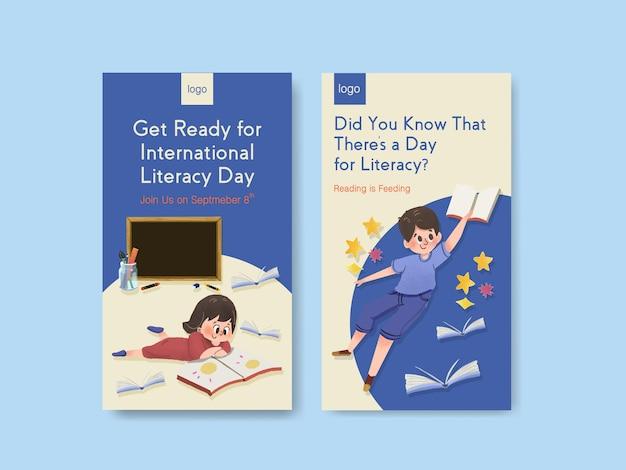 オンラインマーケティングのための国際識字デーのコンセプトデザインを含むinstagramテンプレート