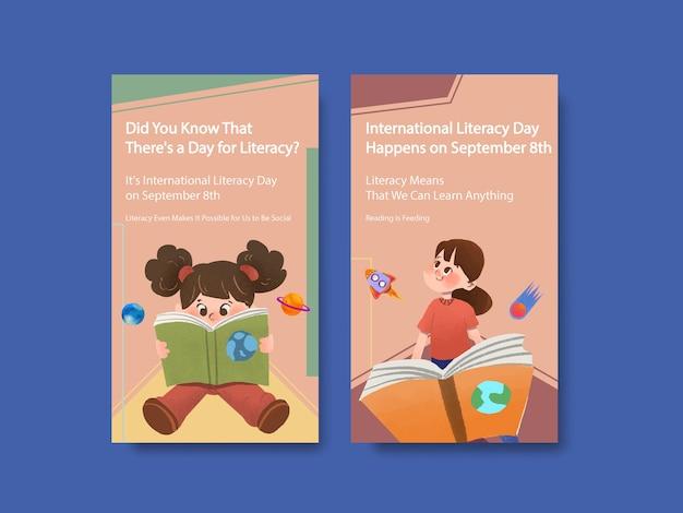 Modello di instagram con concept design della giornata internazionale dell'alfabetizzazione per il marketing online