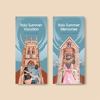 イタリアの夏休みのコンセプト、水彩スタイルのinstagramテンプレート