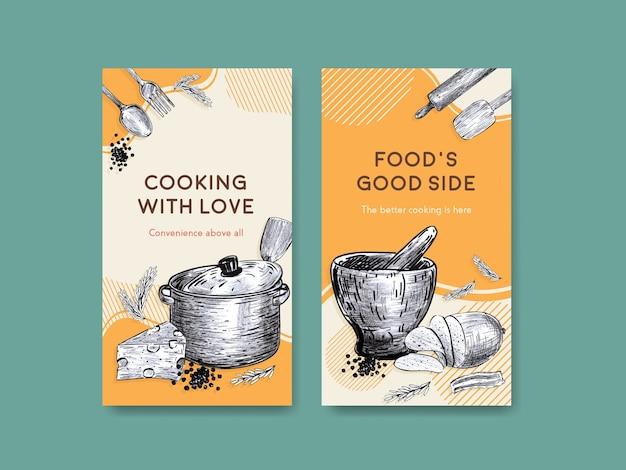 Шаблон instagram с концептуальным дизайном кухонной техники для векторной иллюстрации в социальных сетях