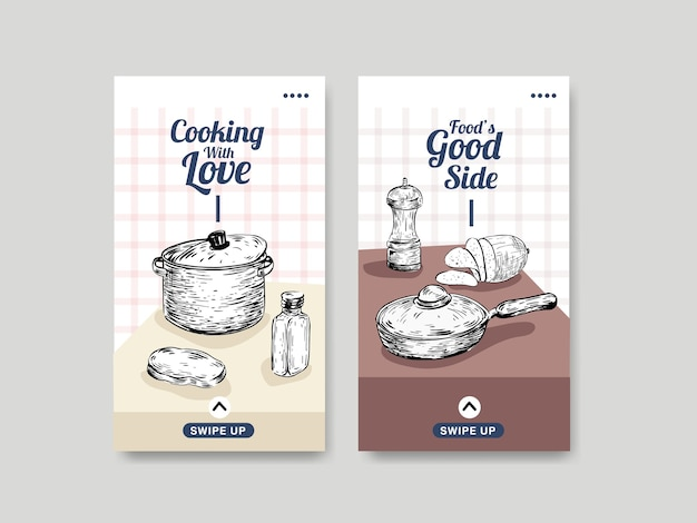 Instagram template with kitchen appliances concept design for social media vector illustration