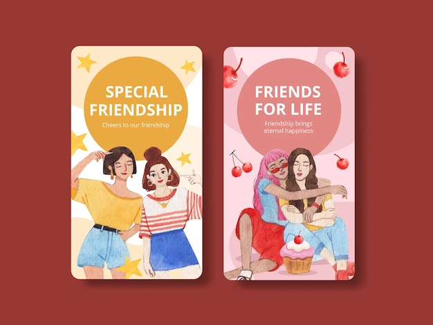 Modello di instagram con il concetto di giornata nazionale dell'amicizia,stile acquerello