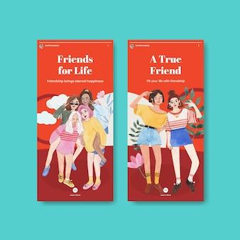 全国友情の日のコンセプト、水彩スタイルのinstagramテンプレート