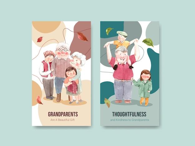 Шаблон instagram с национальным днем бабушек и дедушек концептуальным дизайном для социальных сетей и интернет-акварели.