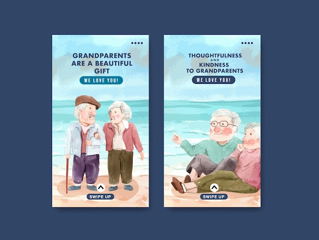 Instagram template with national grandparents day concept design for social media and internet watercolor.