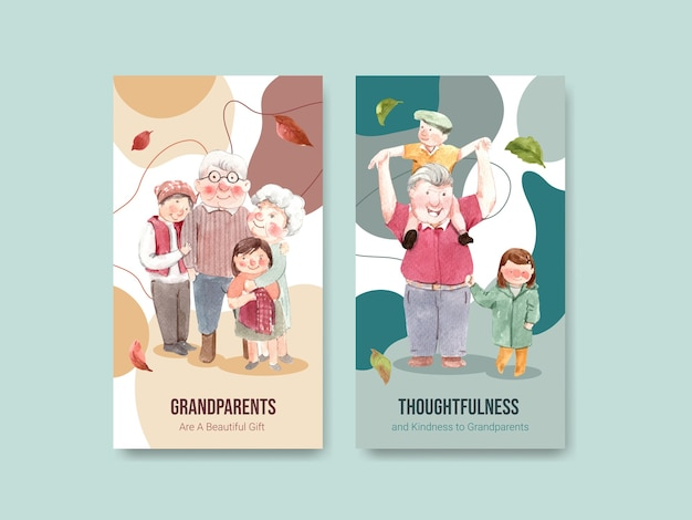 Modello di instagram con concept design nazionale dei nonni per i social media e l'acquerello di internet.