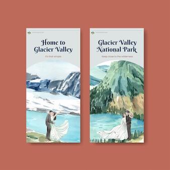 アメリカ合衆国のコンセプト、水彩スタイルの国立公園とinstagramのテンプレート
