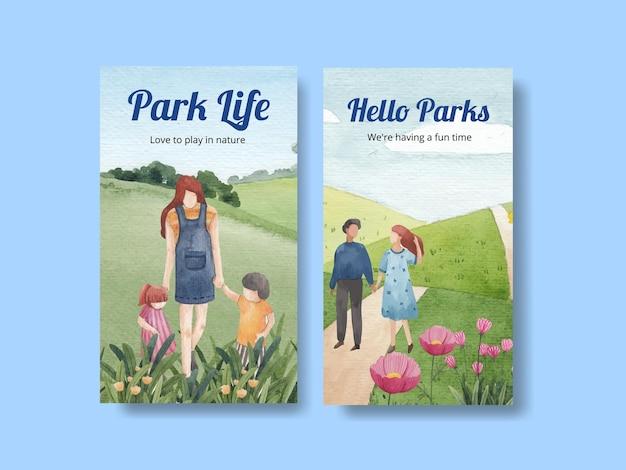 Шаблон instagram с концептуальным дизайном парка и семьи для акварельной иллюстрации в социальных сетях