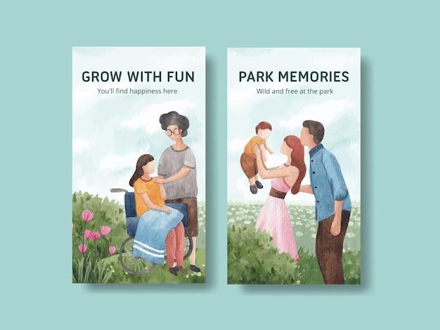 Modello di instagram con parco e famiglia concept design per l'illustrazione dell'acquerello di social media