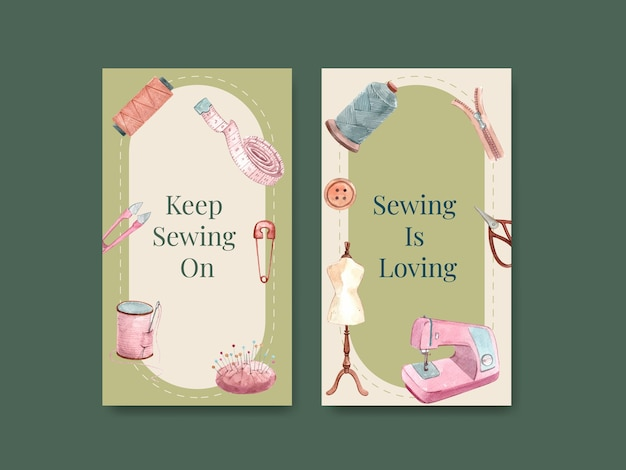 Instagram template with sewing concept design   watercolor   illustration.