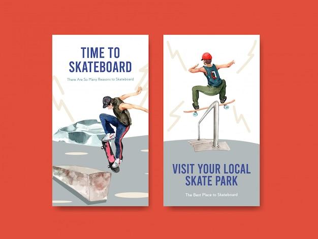 Modello di instagram con il concetto di design di skateboard per l'illustrazione di vettore dell'acquerello di social media.