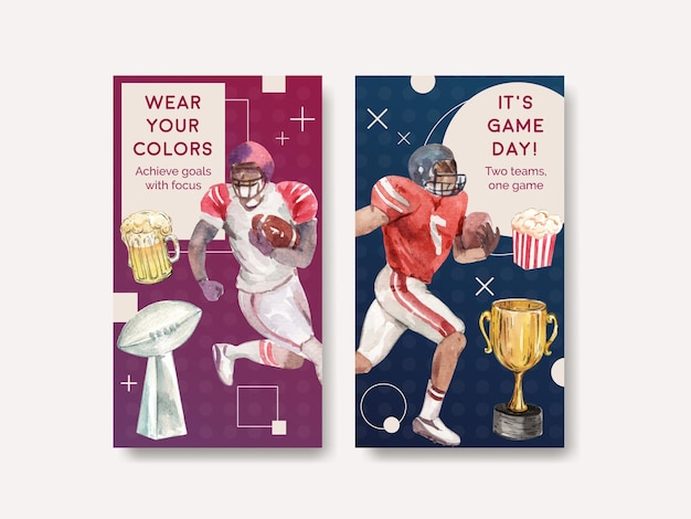 Modello di instagram con super bowl sport concept design per marketing online e illustrazione vettoriale acquerello social media.
