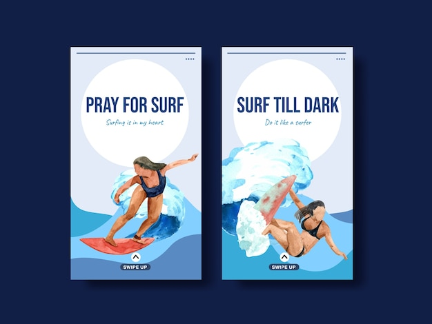 Instagram template with surfboards at beach design for summer vacation tropical and relaxation watercolor vector illustration