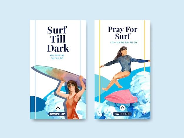 Modello di instagram con tavole da surf in spiaggia