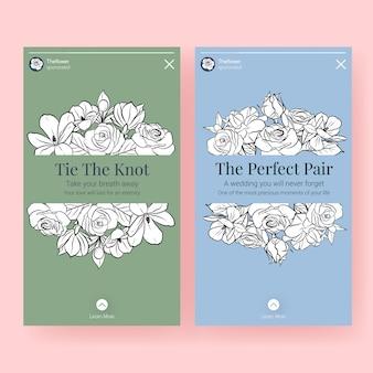 ソーシャルメディアのベクトルイラストの結婚式のコンセプトデザインとinstagramのテンプレート。