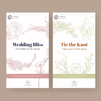 Instagram template with wedding ceremony concept design for social media vector illustration.