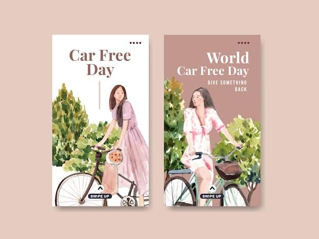 Шаблон instagram с концептуальным дизайном всемирного дня без автомобиля для социальных сетей и интернет-акварель.