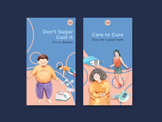 Шаблон instagram со всемирным днем диабета для социальных сетей и интернет-маркетинга акварель