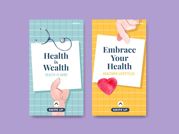 Instagram template with world mental health day concept design