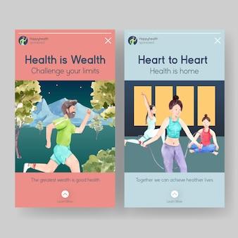 Шаблон instagram с концептуальным дизайном всемирного дня психического здоровья